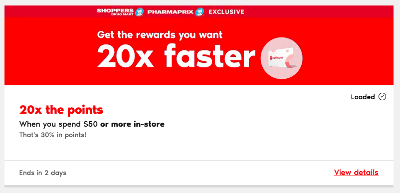 Shoppers Drug Mart PC Optimum Special Bonus Points Event