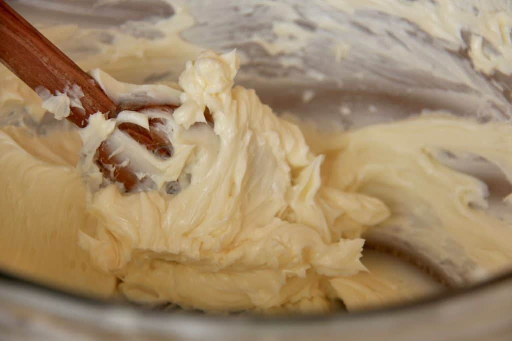 Cream Butter for Shortbread - Butter Mixed in Glass Bowl with Wooden Mixing Spoon
