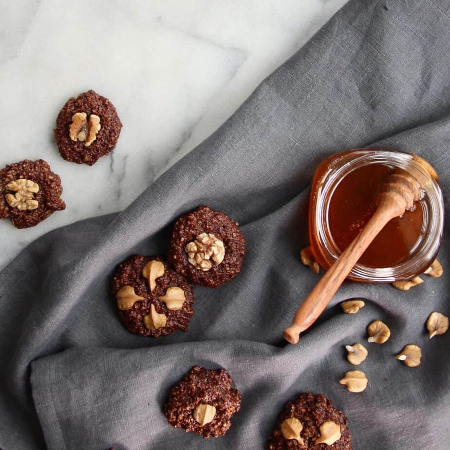 GF Chocolate Walnut Cookies Sweetened with Honey