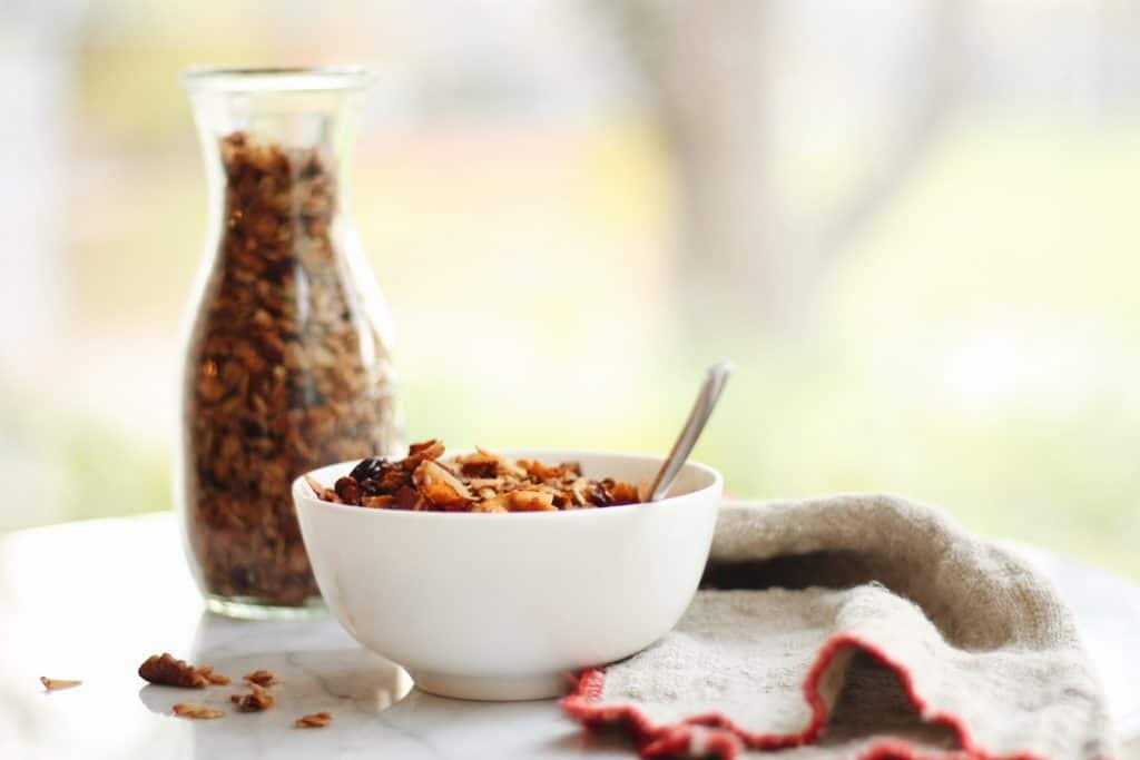 fall pumpkin seed granola with dried cranberries