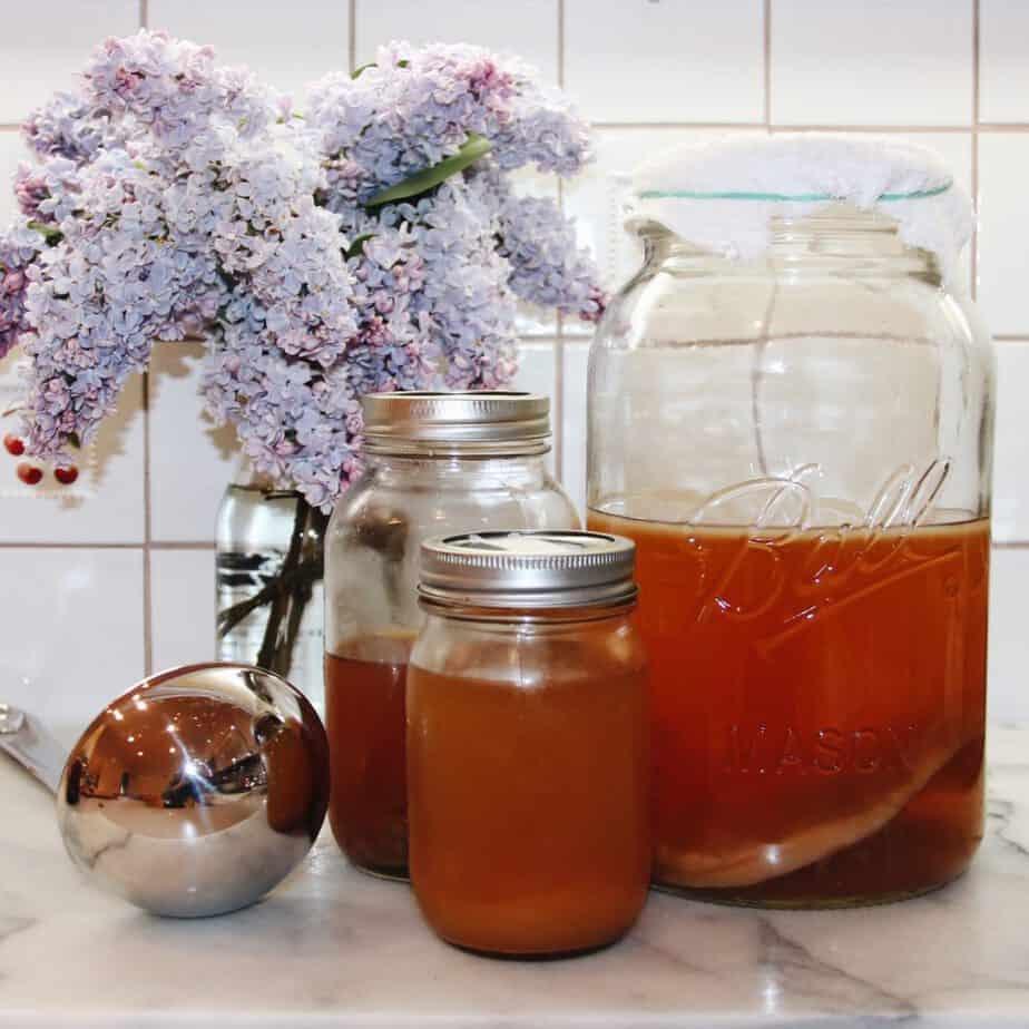 DIY Kombucha Brewing Supplies on Kitchen Countertop