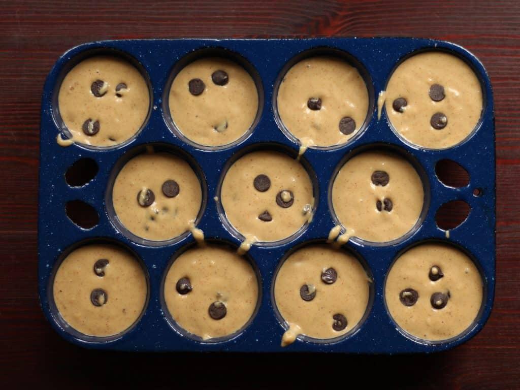 gluten free peanut butter banana chocolate chip muffins