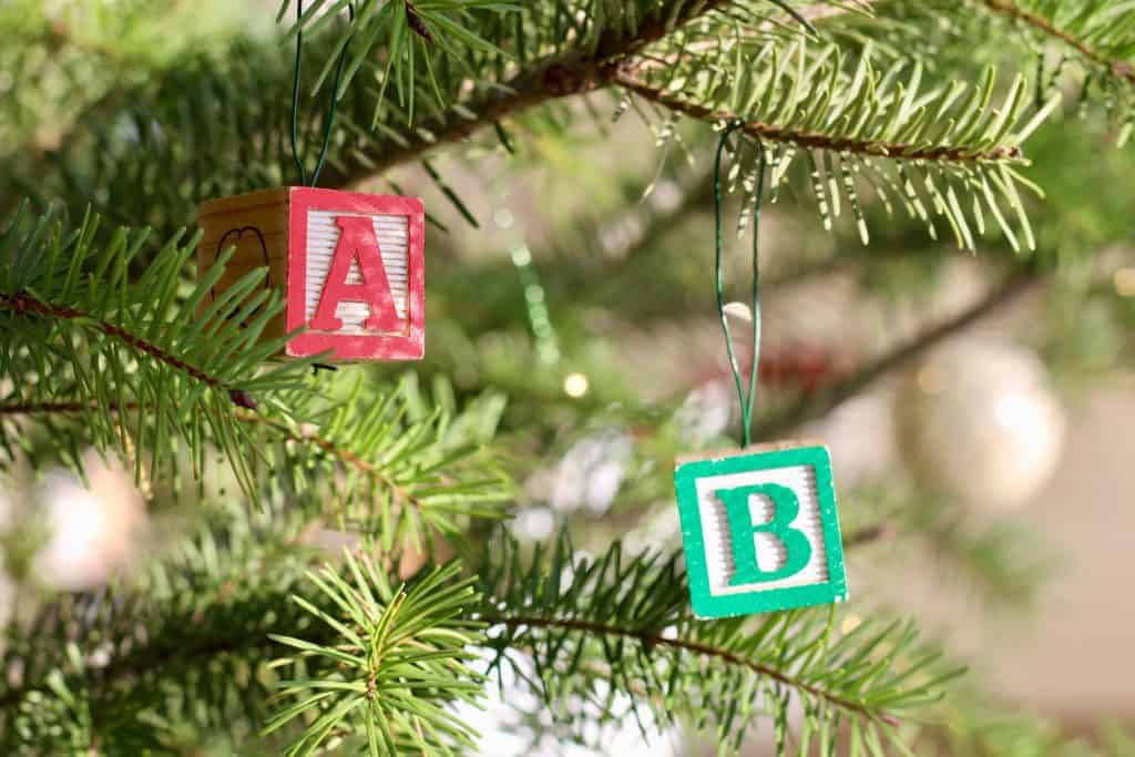 Alphabet Block Letter Ornaments on Christmas Tree