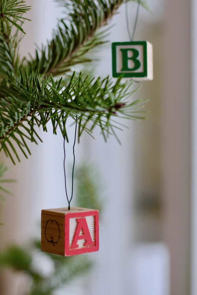 Alphabet Block Ornaments on Christmas Tree