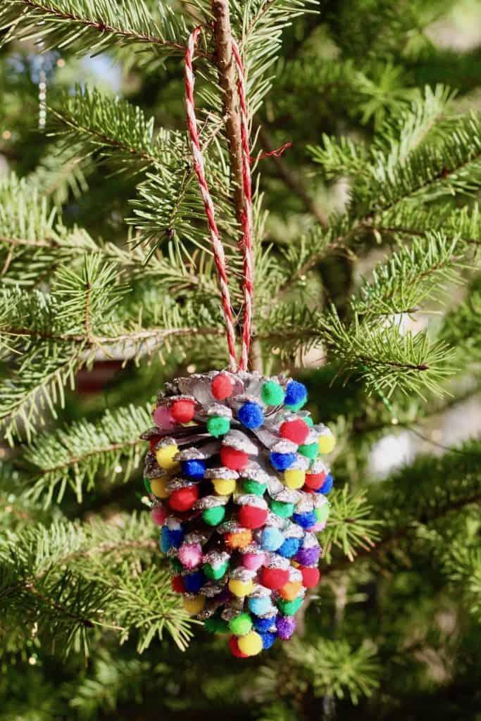 Bright Cheery Pom Pom Pinecone Kids Tree Ornament