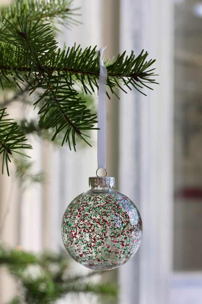 Chic Modern Clear Ornament with Red and Green Spots