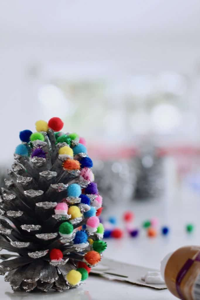 Christmas Craft - Pinecone Kids Ornament with Colorful Pom Poms