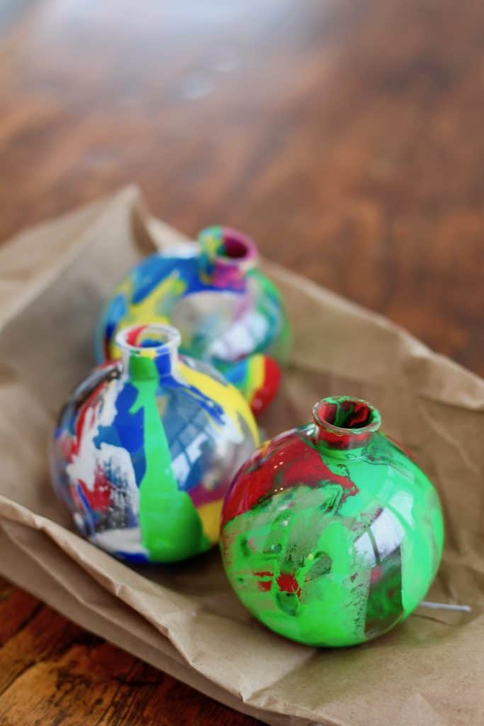 Christmas Craft - Preschool - Paint Drip Ornament - Drying Out Ornaments Before Replacing Tops
