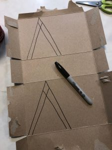 Drawing Out Forms on Cardboard Box