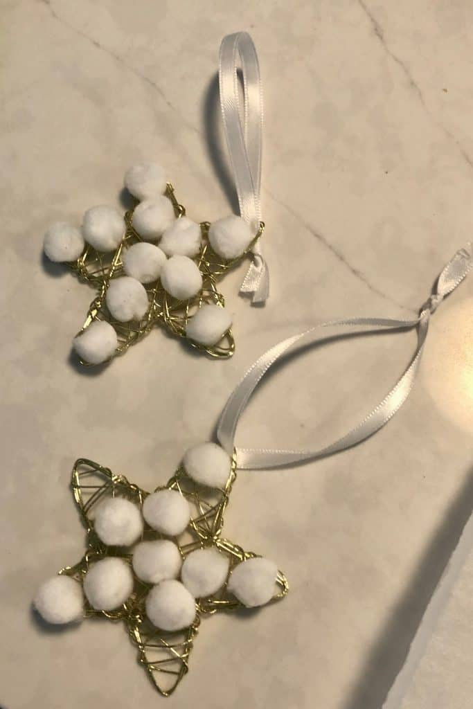 Glueing Pom Poms to Wire Star