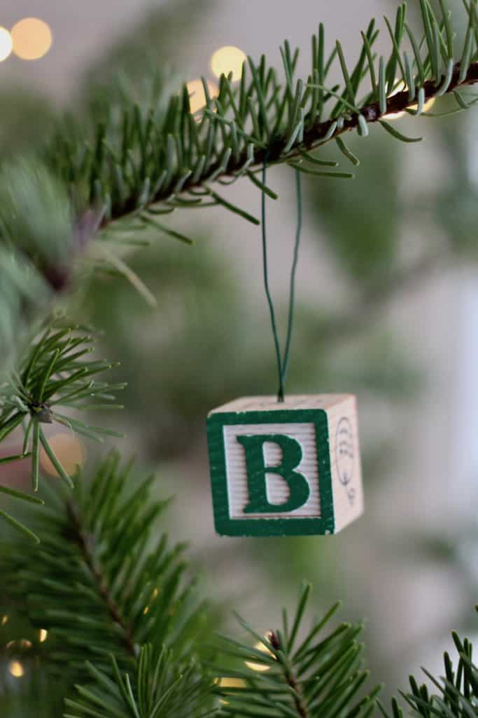 Easy Letter Ornament Tutorial with Alphabet Blocks