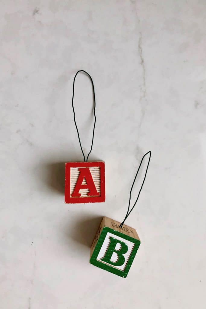 Finished Alphabet Block Ornaments