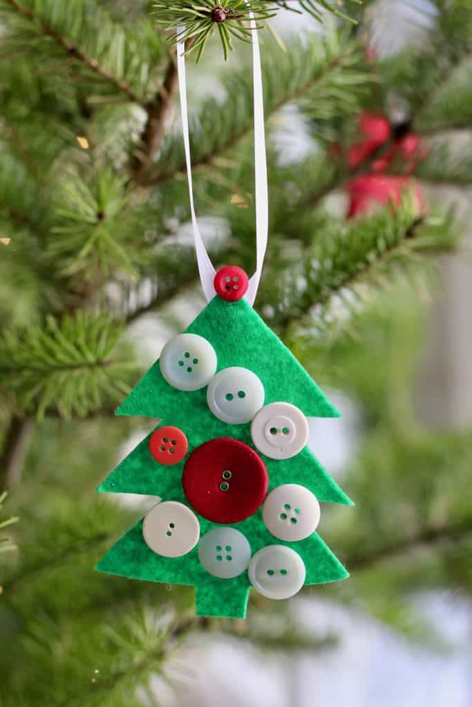 Kids Christmas Tree Ornament with Felt and Red Buttons