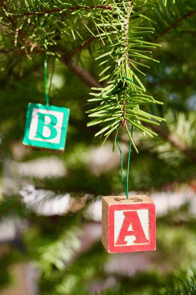 Kids vintage letter alphabet blocks turned into Christmas tree ornaments