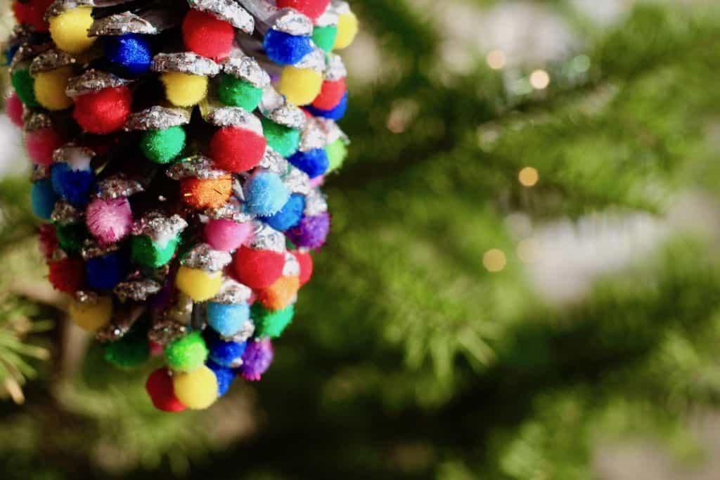 Multi Color Bright Pom Pom Pinecone for Christmas