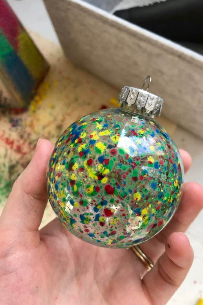 Multicolor melted crayon ornament DIY project