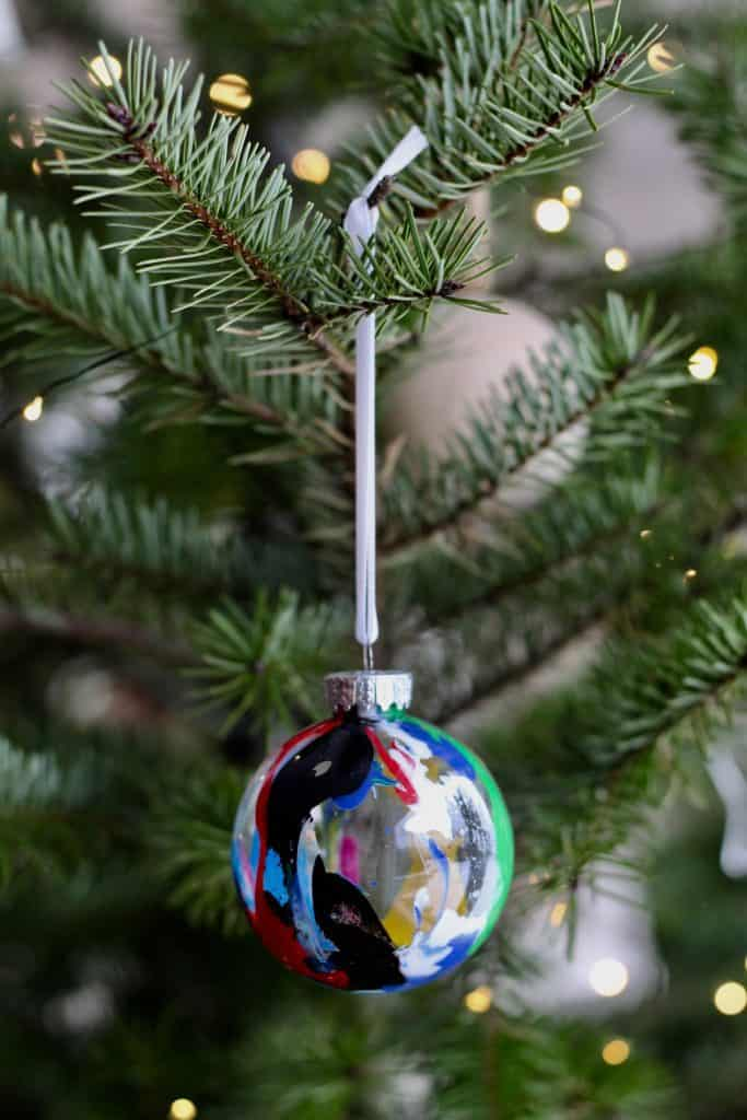 Paint Drip Christmas Ornament on Tree
