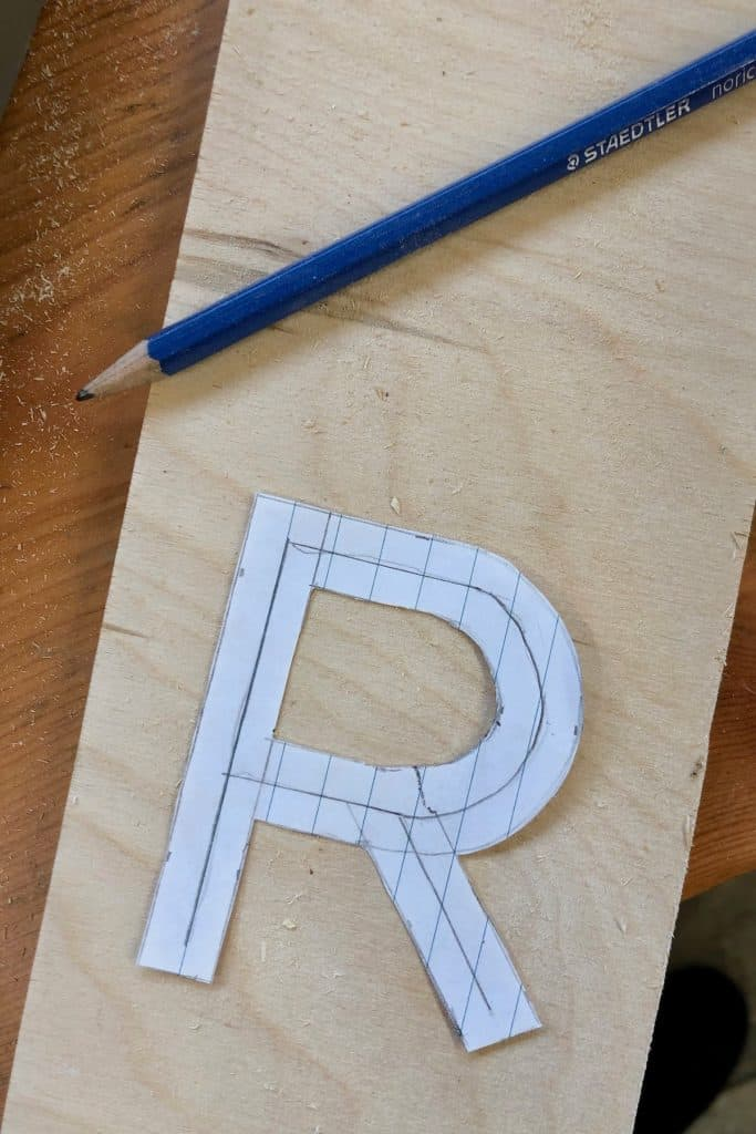 Paper letter template for making wooden letters from scratch