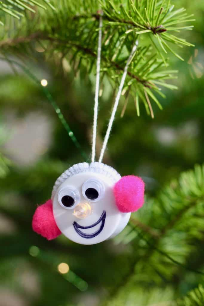 Silly Snow Woman with Pink Earmuffs - DIY Ornament