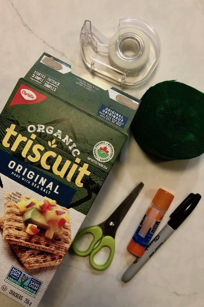 Supplies for Making Piñata Christmas Tree Ornaments with Kids