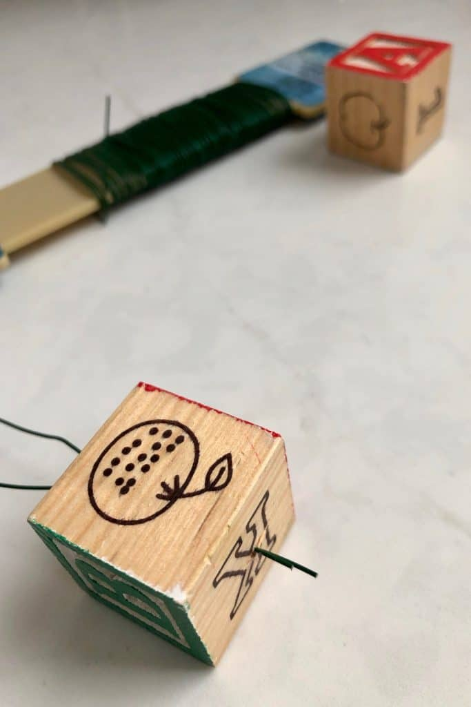 Threading Wire Through Kids Wooden Play Block