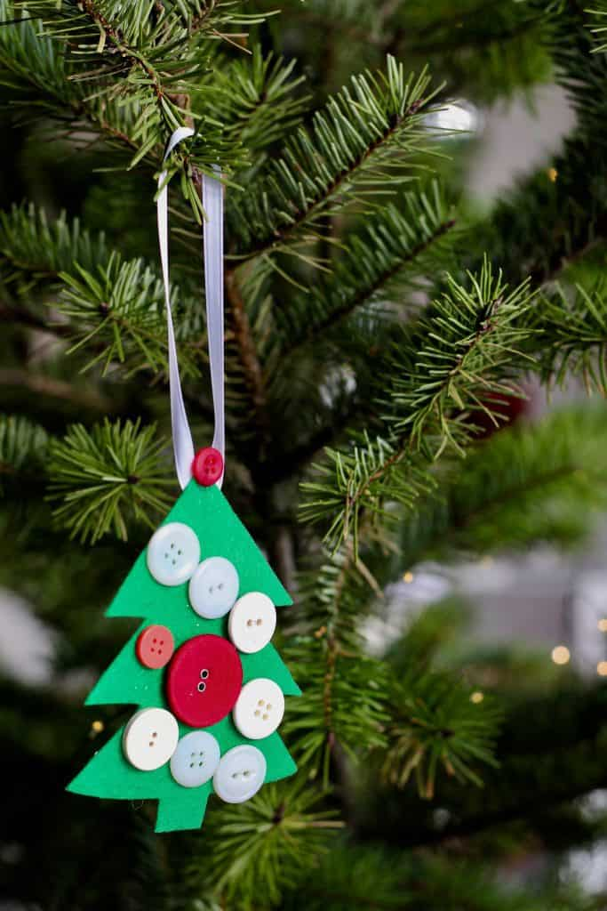 Toddler Christmas Tree Ornament Craft - Christmas Tree Shaped Ornament on Christmas Tree