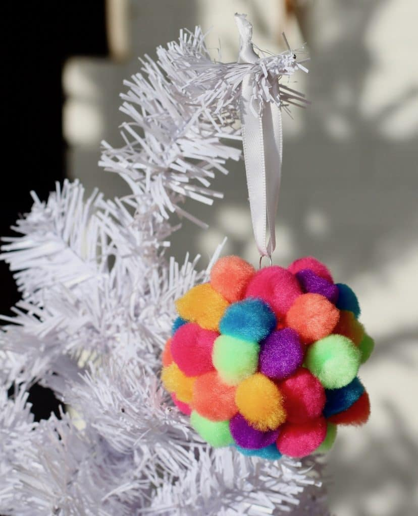 Toddler Colorful Pom Pom Ornament - Preschool Christmas Craft