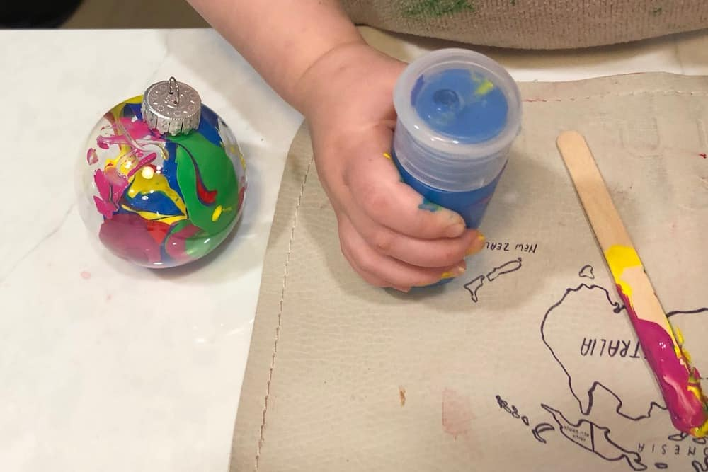 Toddler DIY Christmas Ornament with Paint