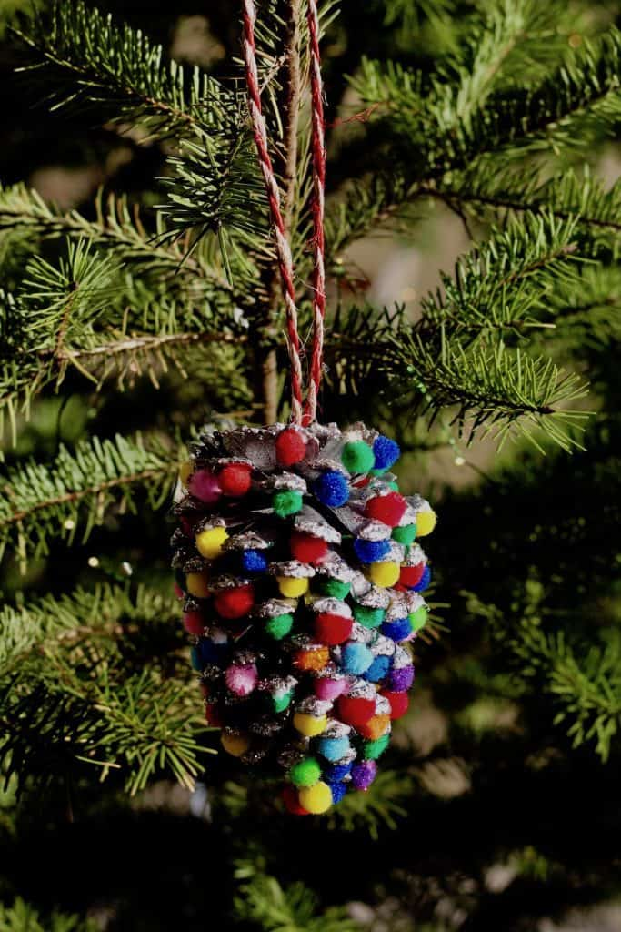 Toddler Tree Ornament - Pom Pom Pinecone Craft