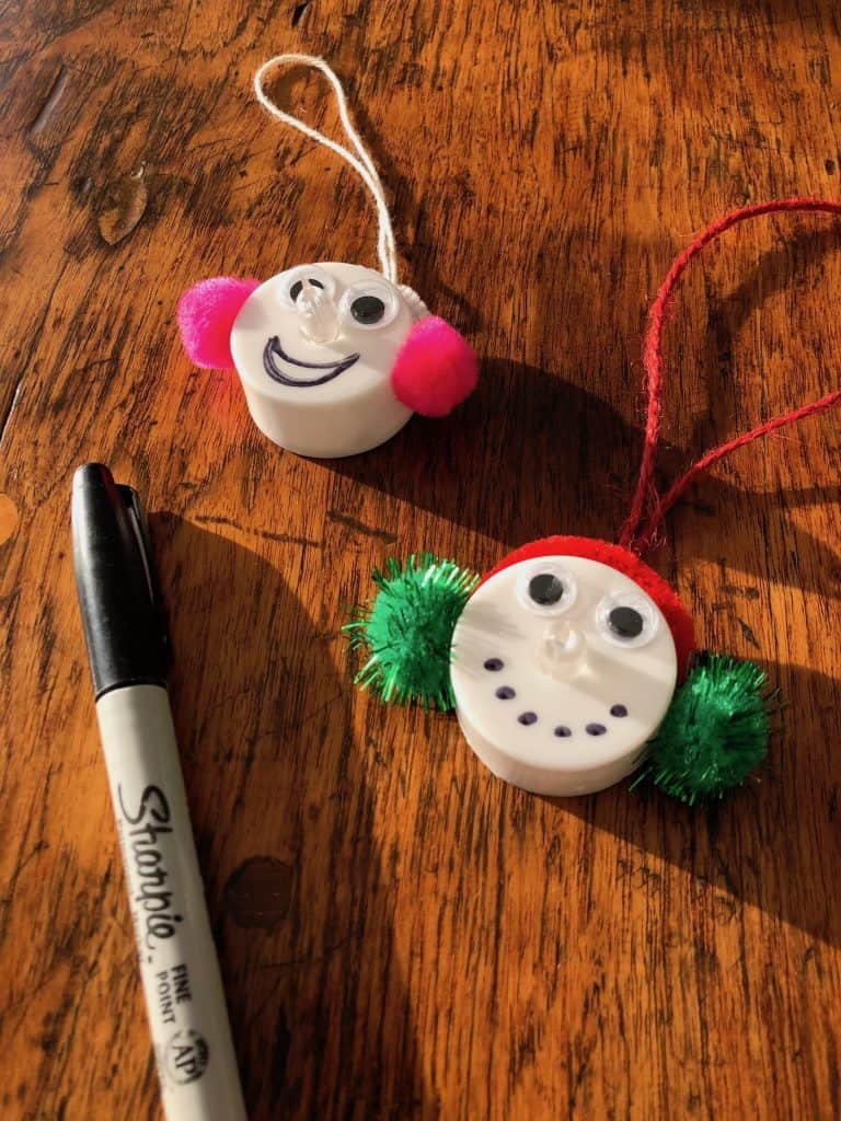 drawing mouths on snowmen ornaments