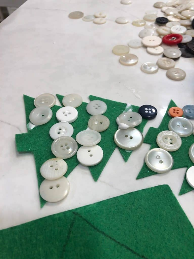 preschool Christmas tree ornaments with button decorations