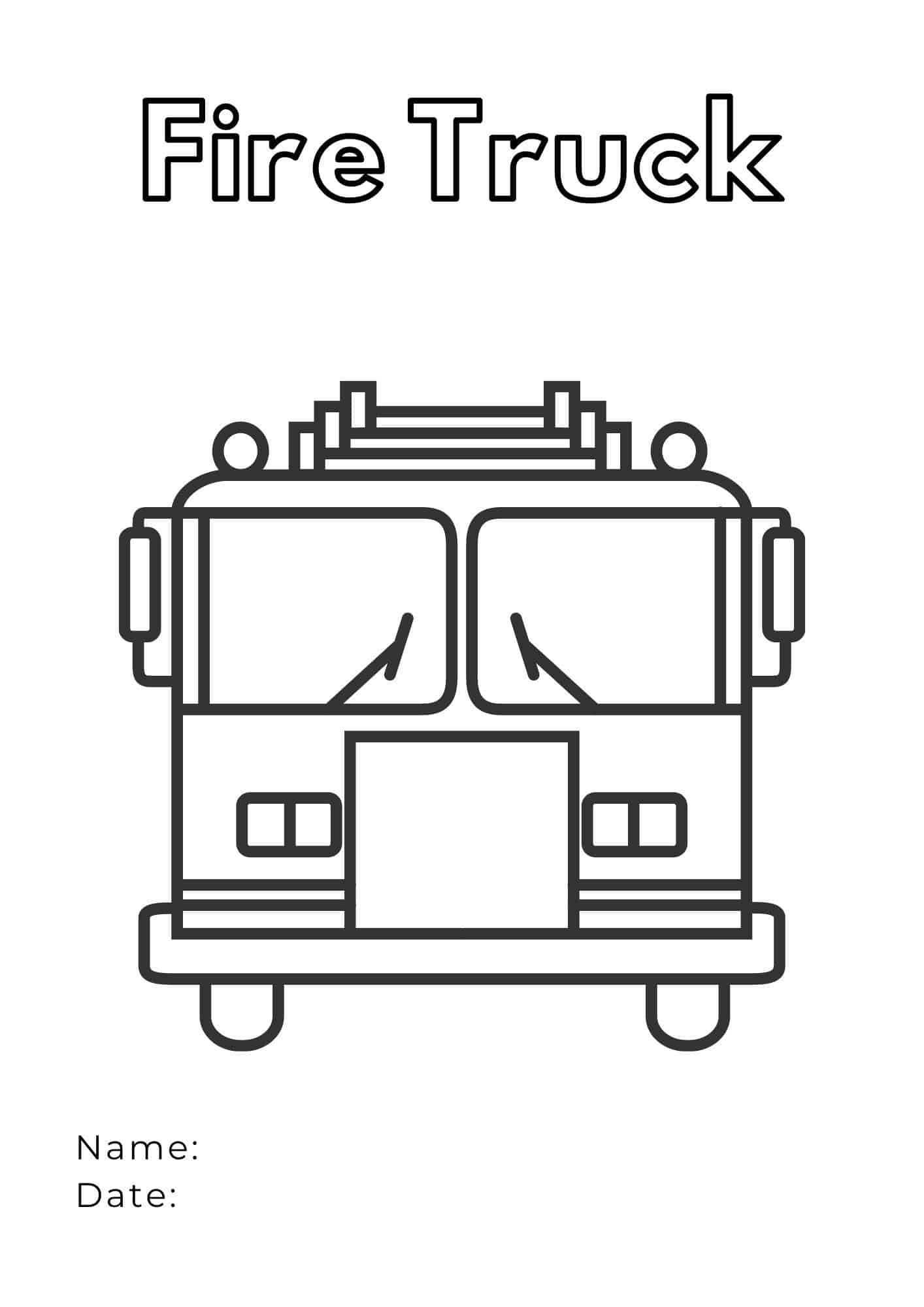 Fire Truck Coloring Page - front of truck