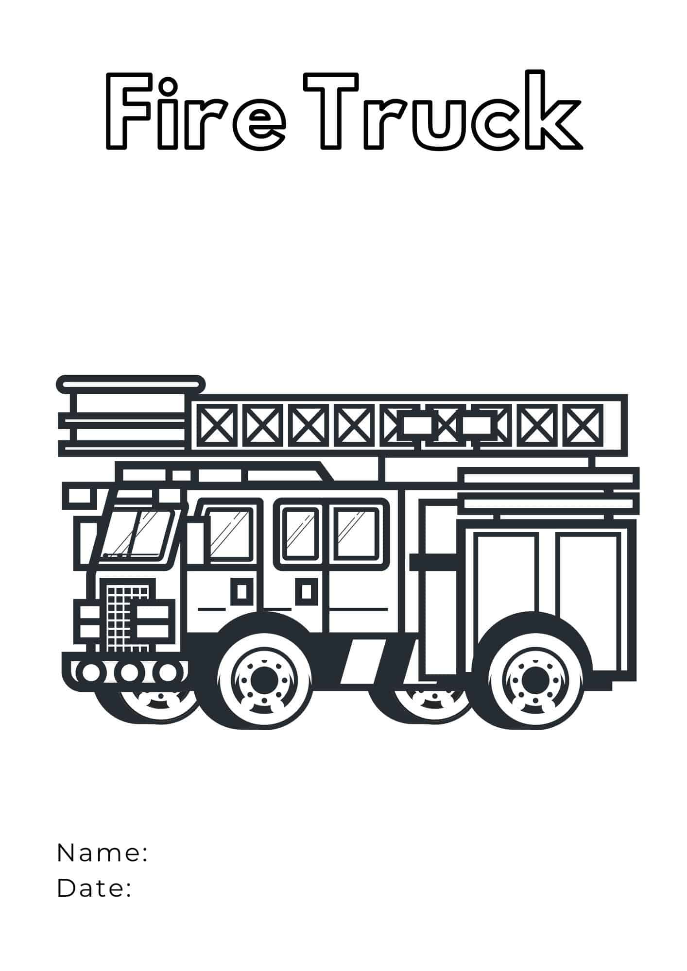 Fire Truck Coloring Page - advanced