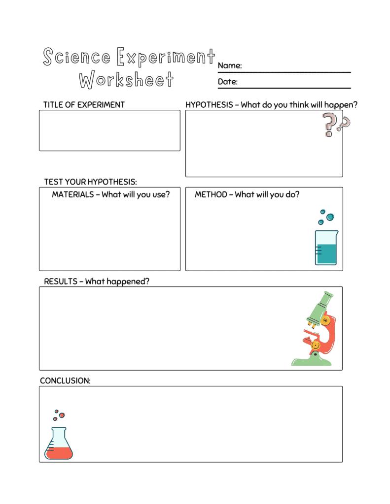science activity worksheet for preschoolers