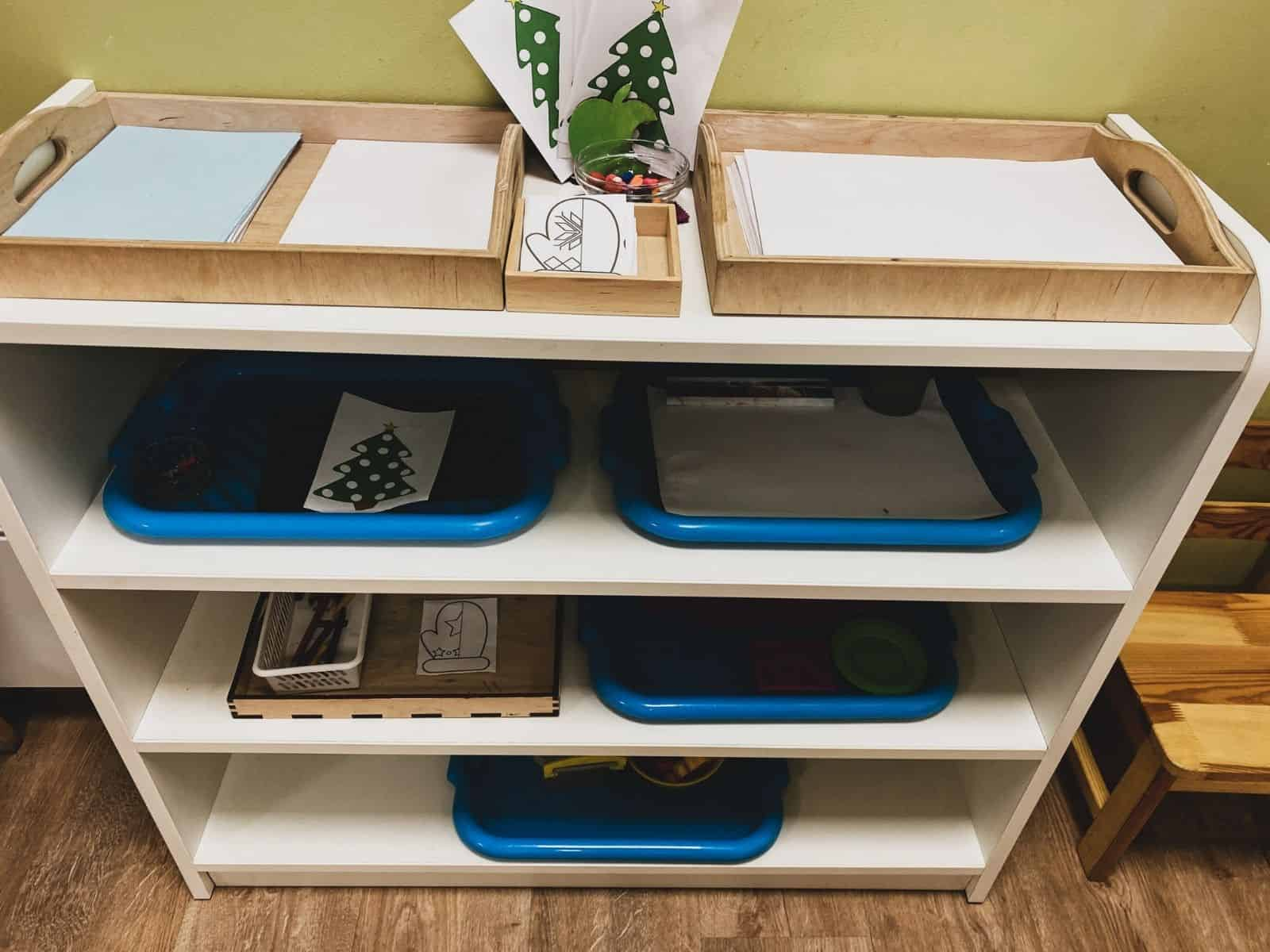 Shelves with Montessori Trays