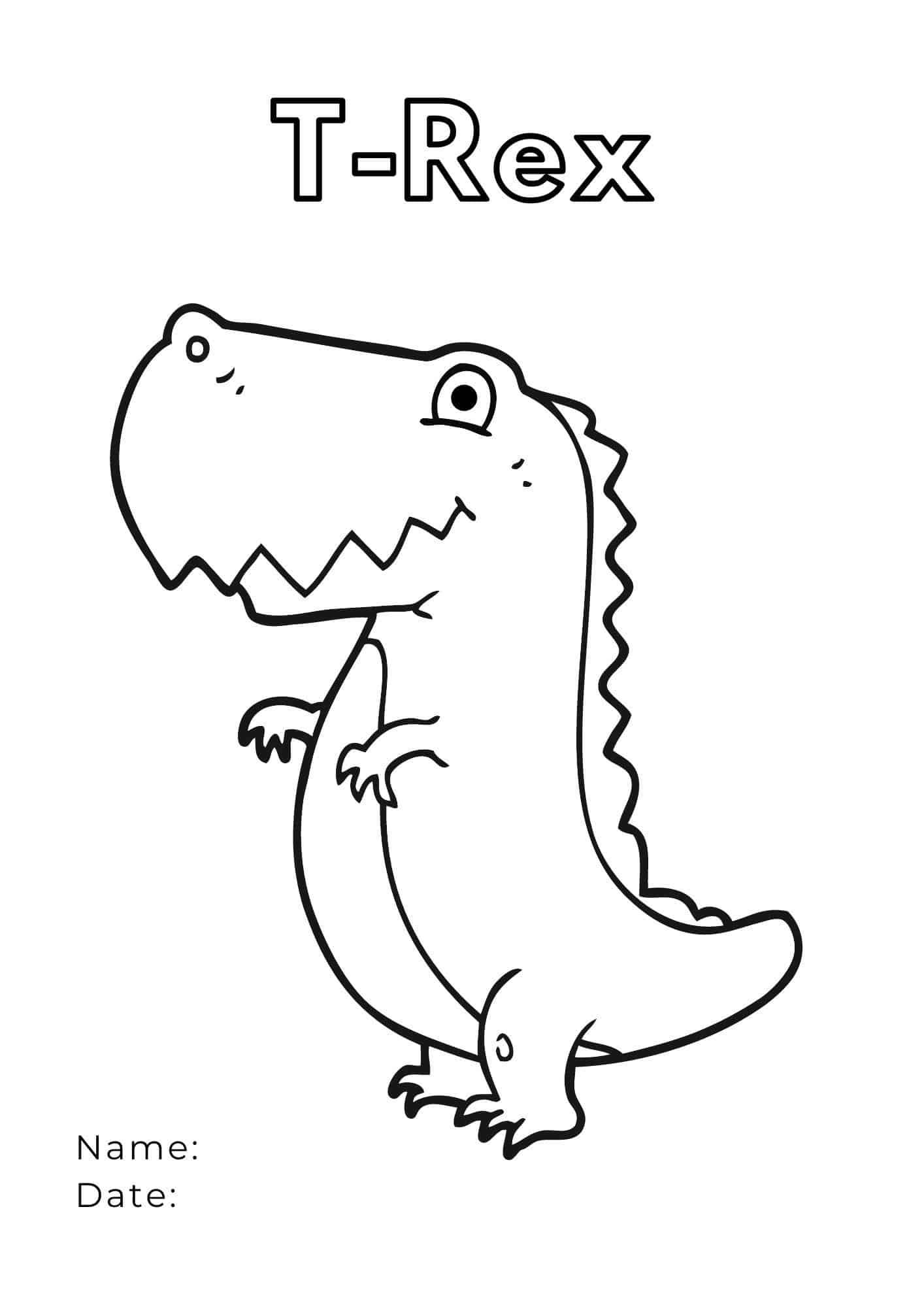 happy t-rex dino coloring page